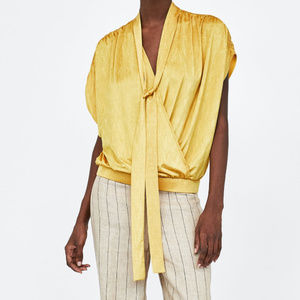 NWT Zara Crossover Yellow Satin Tie Neck Blouse